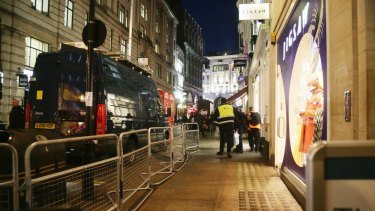 The scene outside the London Palladium in the West End of London after Oxford Circus station was evacuated.