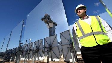 The solar panels focus sunlight on an energy collector.