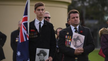 Paul Holland has marched with his father Grant on Anzac Day since he was three.