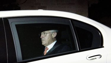 Prime Minister Malcolm Turnbull leaves Justin Hemmes' exclusive Liberal fundraiser in Vaucluse.
