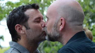 Duane Smith and Knol Aust of Jackson, Mississippi during their marriage ceremony last year.