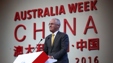 Prime Minister Malcolm Turnbull addresses the Australia week in China gala lunch in Shanghai on Thursday.
