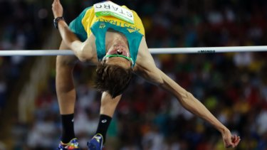 No, not that one: Australia's Brandon Starc competes in the men's high jump in Rio.