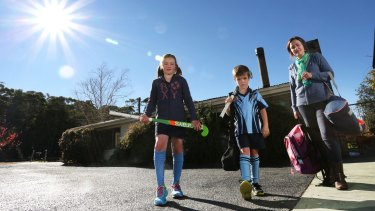 Annie Dean of Colo Vale, with her children Sophie, 10, and Angus, 7.
