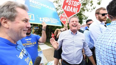 Anti-Adani coal mine protesters dogged Queensland Opposition Leader Tim Nicholls throughout the election campaign.