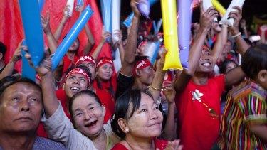 Jubilation among NLD supporters in Yangon on Monday.