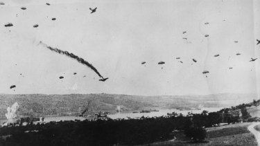 May 1941: German parachutists drop onto Crete during the invasion of Greece.