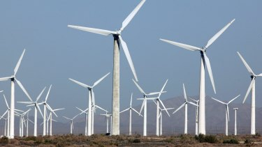 Turbines at China's largest wind farm in Xinjiang.