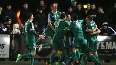 Bentleigh Greens celebrate their round of 32 victory in the FFA Cup.