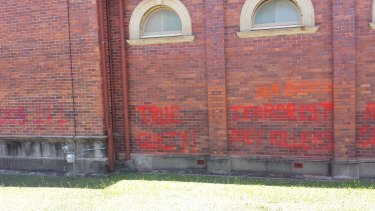 The graffiti continues over an extensive portion of the Lodge.