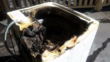 A Samsung washing machine that caught fire at a Sydney home after it was repaired.