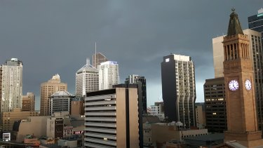 Dark skies surrounded the Brisbane CBD as the super cell closed in.