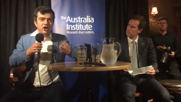 Sam Dastyari spoke passionately about refugees at a pub function on Wednesday night in Canberra.