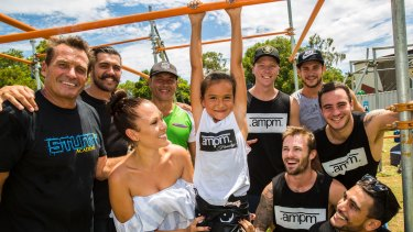Samaya Sailor and daughter Kyarna Le Lani Ofner with stuntmen at The Stunt Academy on the Gold Coast.