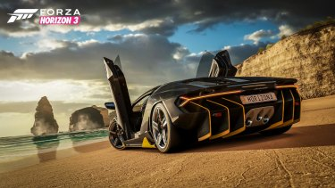 A Lamborghini sits in front of the Twelve Apostles.
