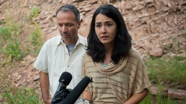 Sitora Yusufiy, the ex-wife of Orlando shooting suspect Omar Mateen, and her fiance Marcio Dias, give a statement to the media at their home outside Boulder, Colorado.