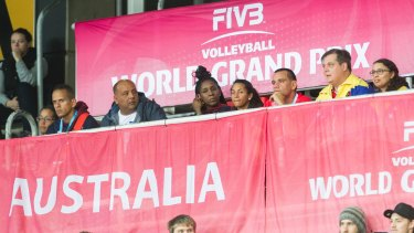 Venezuela players and team members watch on the grand final of the FIVB World Grand Prix. Photo: Jamila Toderas