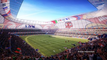A drawing of one of the two stadiums the NSW government proposes to build for $ 2 billion.