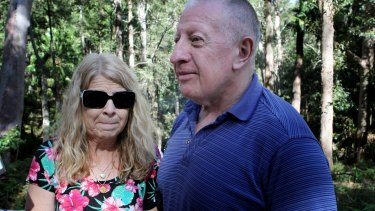 Matthew Leveson's parents, Faye and Mark, at the search area.