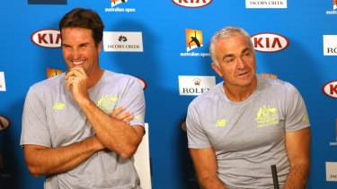 Pat Rafter, left, at a press conference in January where he announced he was stepping down as captain of the Australian Davis Cup team. Wally Masur will captain the team on an interim basis.