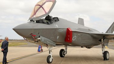 Open for inspection: Prime Minister Malcolm Turnbull gets a closer look at a Joint Strike Fighter F-35 at the Avalon Airshow.