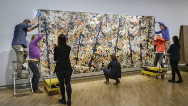 Blue Poles is removed from the National Gallery of Australia.