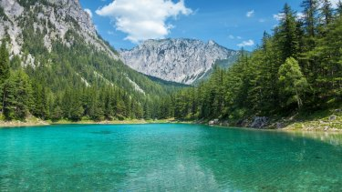 Grüner See is best visited in spring, when snow melt brings the lake back to life.