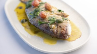 New Zealand pink snapper with a buttery lemon sauce.