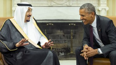 King Salman, left, of Saudi Arabia, whose family practises a conservative strand of Sunni Islam known as Wahhabism, talks with US President Barack Obama in the White House in September 2015.