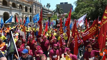 Protesters rally outside Parliament House