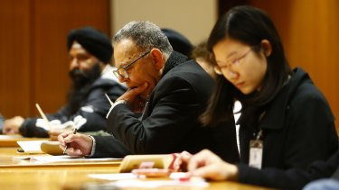 Ethnic leaders launch their campaign at NSW Parliament on Wednesday.