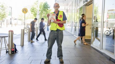 Peter sells The Big Issue street magazine at various locations including the busy pedestrian crossing at the Canberra Centre. He says hundreds of people might pass by before he sells a single copy.