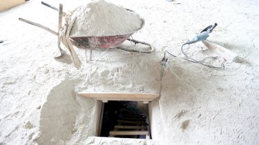 The exit of a tunnel connected to the Altiplano Federal Penitentiary and used by drug lord Joaquin 'El Chapo' Guzman to escape.