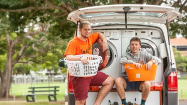 Lucas Patchett and Nicholas Marchesi's mobile laundry service attracted $1.47 million in donations and reported a profit of $1.16 million in 2016.