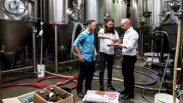 """Solar energy specialist Jake Steele, Young Henrys co-owner Oscar McMahon and Tom Nockolds from Pingala have the answer to """"renewable"""" beer."""