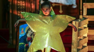 Elaria Tossoun, 6, from St Verena and St Bishoy Coptic Orthodox Church in Armadale rehearsing for a nativity play in the lead-up to Orthodox Christmas, January 7.