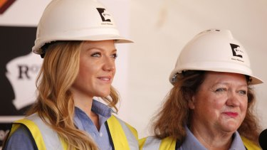 """Gina Rinehart (right), with her daughter Ginia, warns that the greatest challenge for Australia's mining industry today is """"onerous and expensive"""" government regulation."""