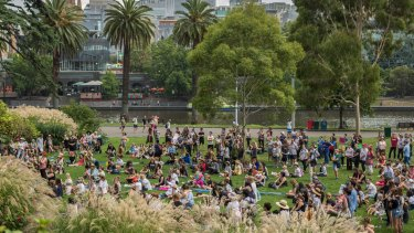 Women's March on Melbourne held at Alexandra Gardens in the city