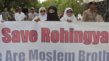 Indonesian Muslim protesters demand an end to the violence against Rohingyas.