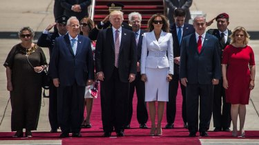 Donald and Melania Trump during an official welcoming ceremony on arrival at Ben Gurion International Airport near Tel Aviv, Israel.