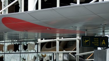 Blown out windows at Brussels Airport on Friday.