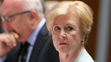 Attorney-General George Brandis and Australian Human Rights Commission president Professor Gillian Triggs during the estimates hearing on Tuesday.