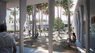 An artist's impression of the landscaped internal courtyard as part of plans for the Bondi Pavilion upgrade.
