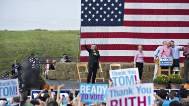 Hillary Clinton at an annual fundraiser in Indianola, Iowa, last year. She started her 2016 campaign this week back in Iowa.