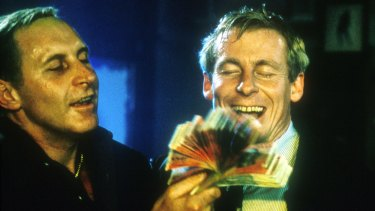Tony Martin (playing Neddy Smith) and Richard Roxburgh (playing Roger Rogerson) in the television show Blue Murder.