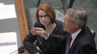 Julia Gillard and Wayne Swan in Parliament in 2013.