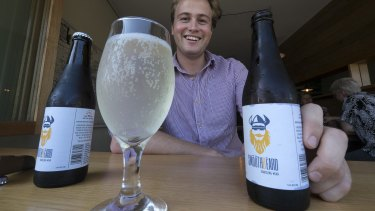 Angus Smibert with his sparkling mead at Melbourne's Tippler & Co.