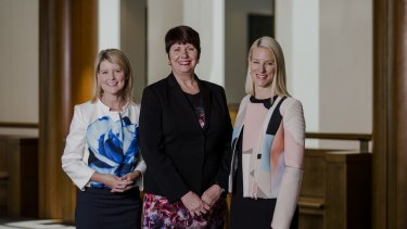The launch of Changing the Story: a shared framework for the primary prevention of violence against women and their children in Australia. From left, Chair of Our Watch, Natasha Stott Despoja, CEO of ANROWS Heather Nancarrow, and CEO of VicHealth Jerril Rechter.