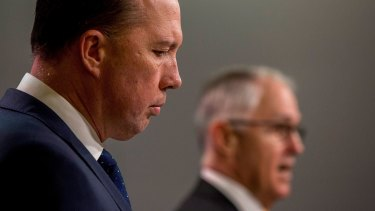 Immigration Minister Peter Dutton announcing changes to refugee immigration laws with Malcolm Turnbull on Sunday.