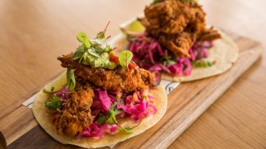 The writer's lunch of Louisiana fried chicken tacos at The Re-Up in Moonee Ponds.
